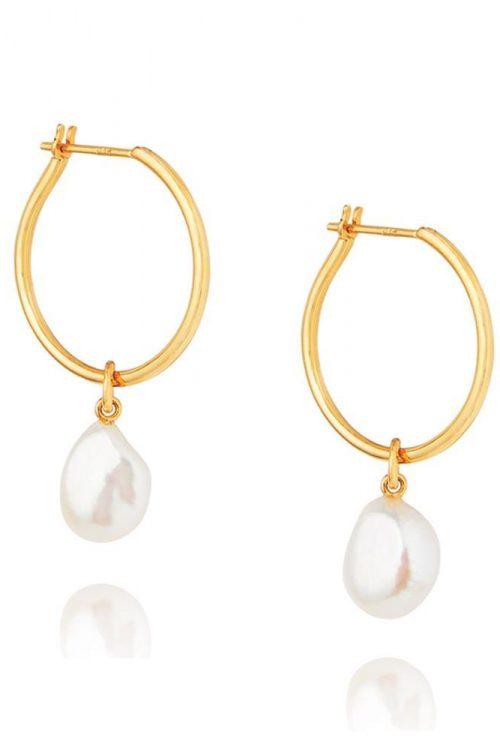 Baroque Pearl Willpower Hoop Earrings – Gold